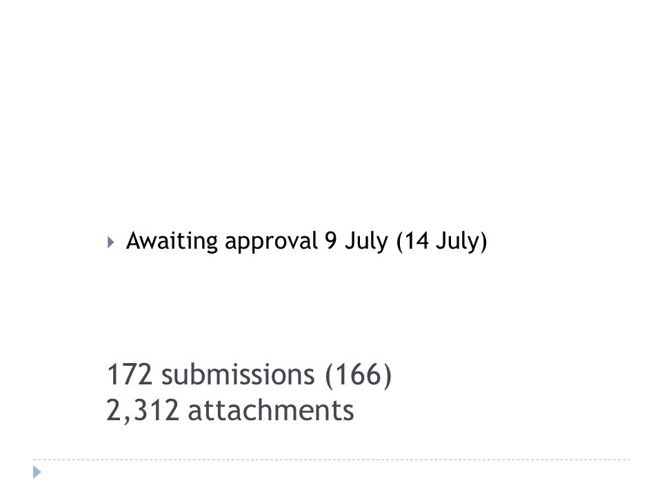172 submissions (166) 2,312 attachments Awaiting approval 9 July (14 July)