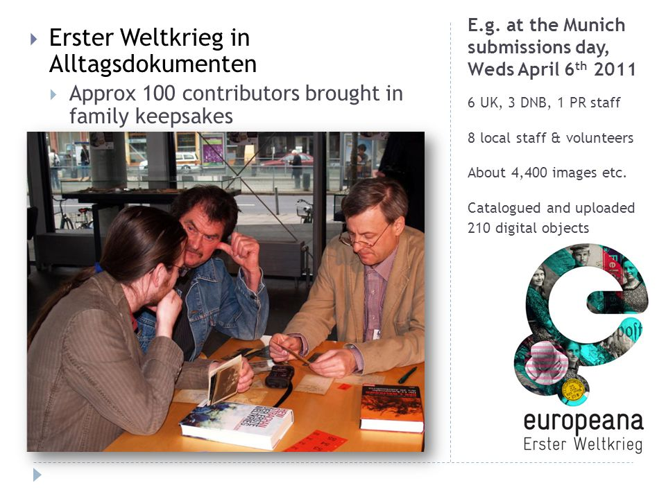 E.g. at the Munich submissions day, Weds April 6 th 2011 6 UK, 3 DNB, 1 PR staff 8 local staff & volunteers About 4,400 images etc. Catalogued and upl