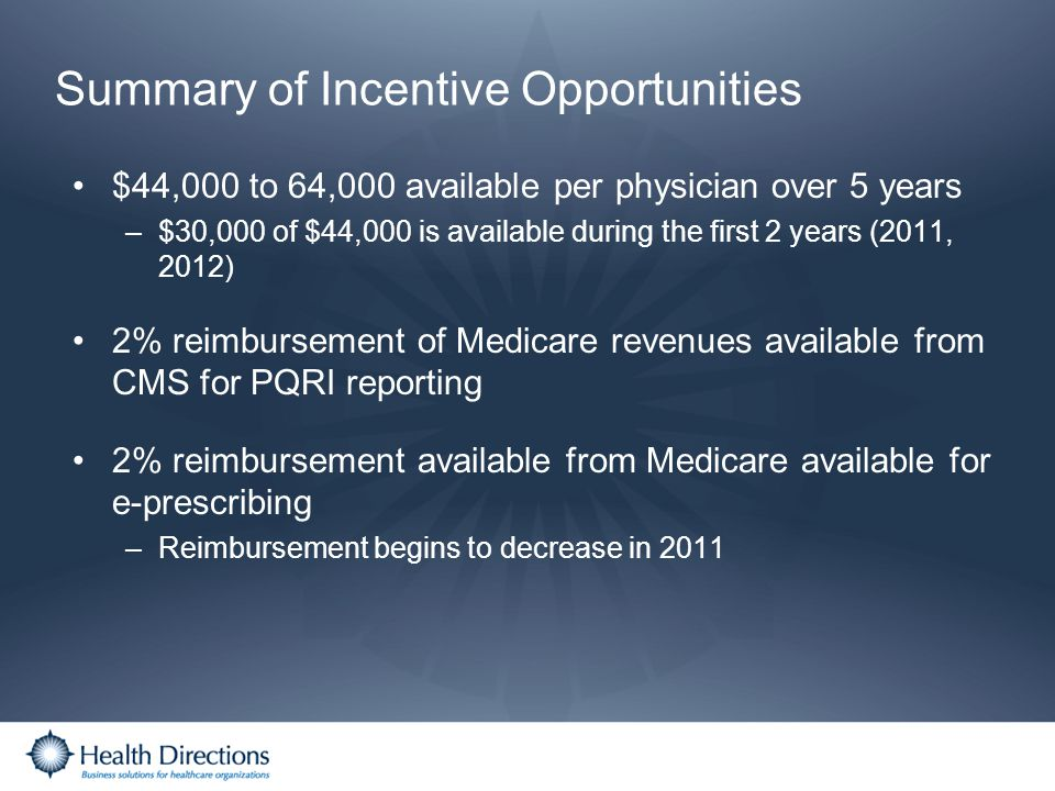 Summary of Incentive Opportunities $44,000 to 64,000 available per physician over 5 years –$30,000 of $44,000 is available during the first 2 years (2