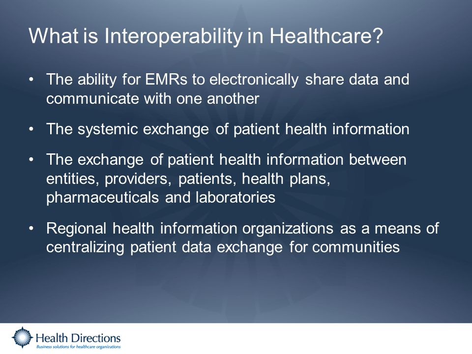 What is Interoperability in Healthcare? The ability for EMRs to electronically share data and communicate with one another The systemic exchange of pa
