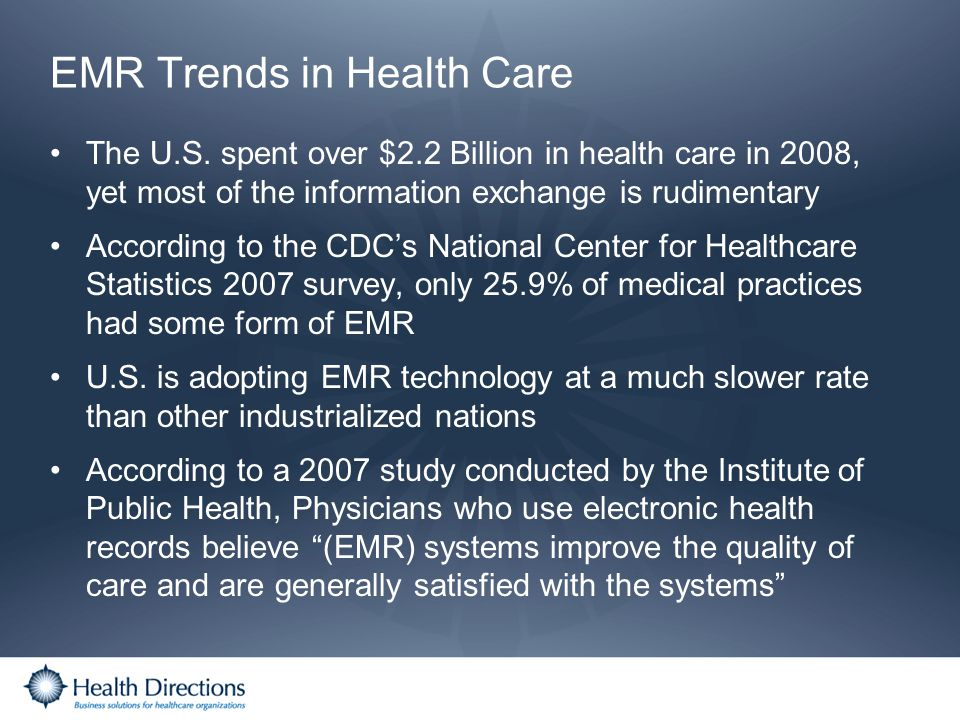 EMR Trends in Health Care The U.S. spent over $2.2 Billion in health care in 2008, yet most of the information exchange is rudimentary According to th