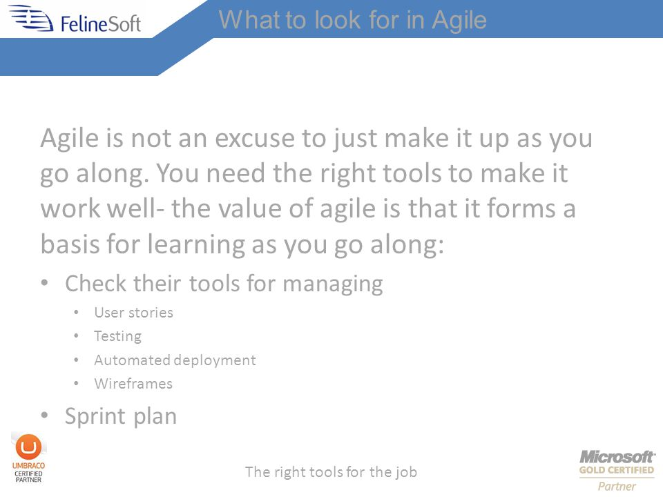 The right tools for the job What to look for in Agile Agile is not an excuse to just make it up as you go along.