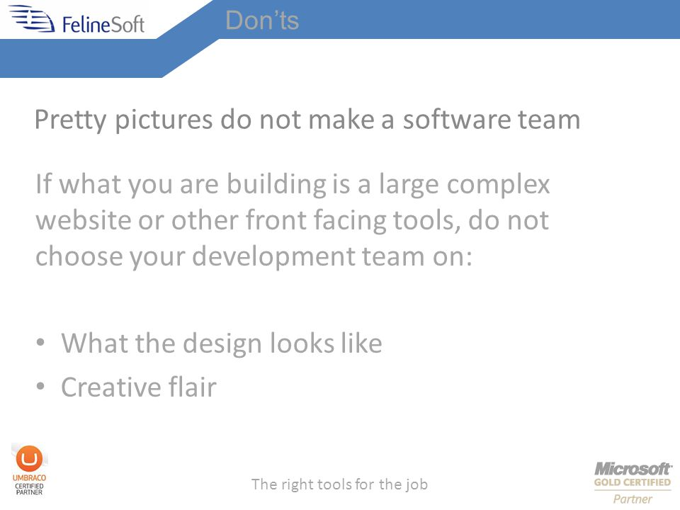 The right tools for the job Pretty pictures do not make a software team If what you are building is a large complex website or other front facing tools, do not choose your development team on: What the design looks like Creative flair Donts