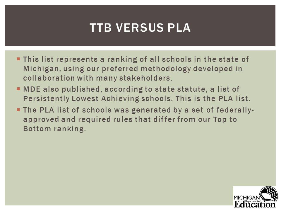 This list represents a ranking of all schools in the state of Michigan, using our preferred methodology developed in collaboration with many stakeholders.