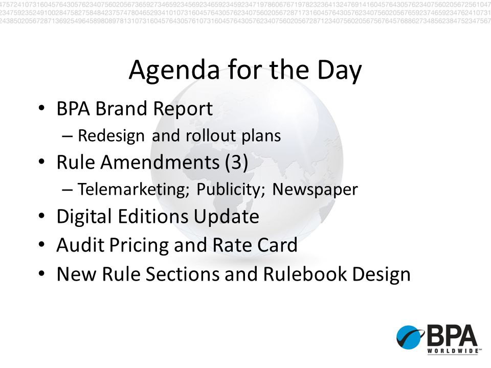Advisory Committee Meetings US Audience Development (B&C) European Audience Development Canadian Newspaper and Magazine Audience Development US Teleservices US Fulfillment US Media Managers US Publishers