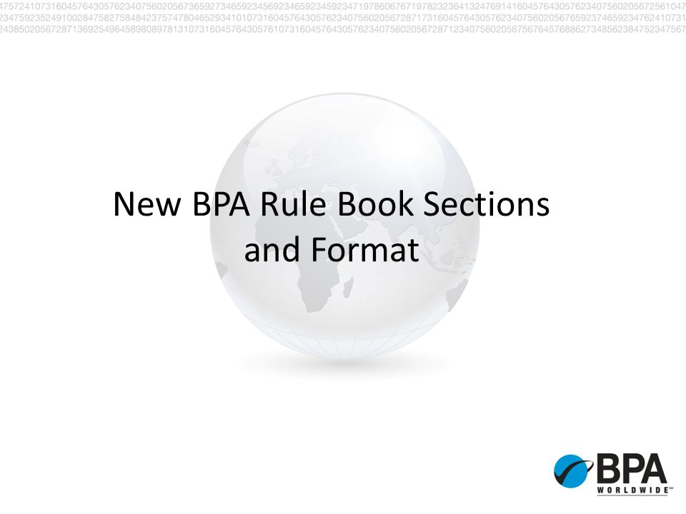 New BPA Rule Book Sections and Format