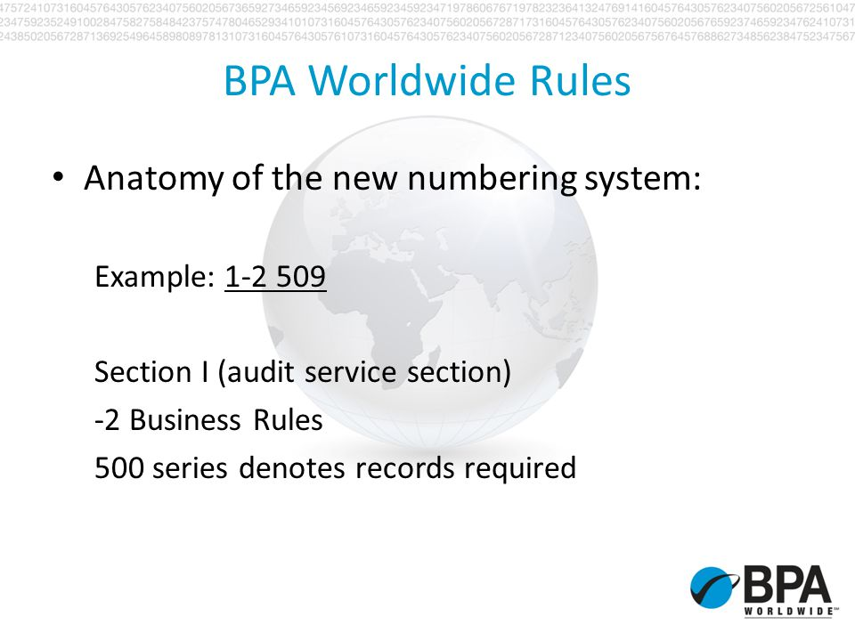 BPA Worldwide Rules Anatomy of the new numbering system: Example: 1-2 509 Section I (audit service section) -2 Business Rules 500 series denotes recor