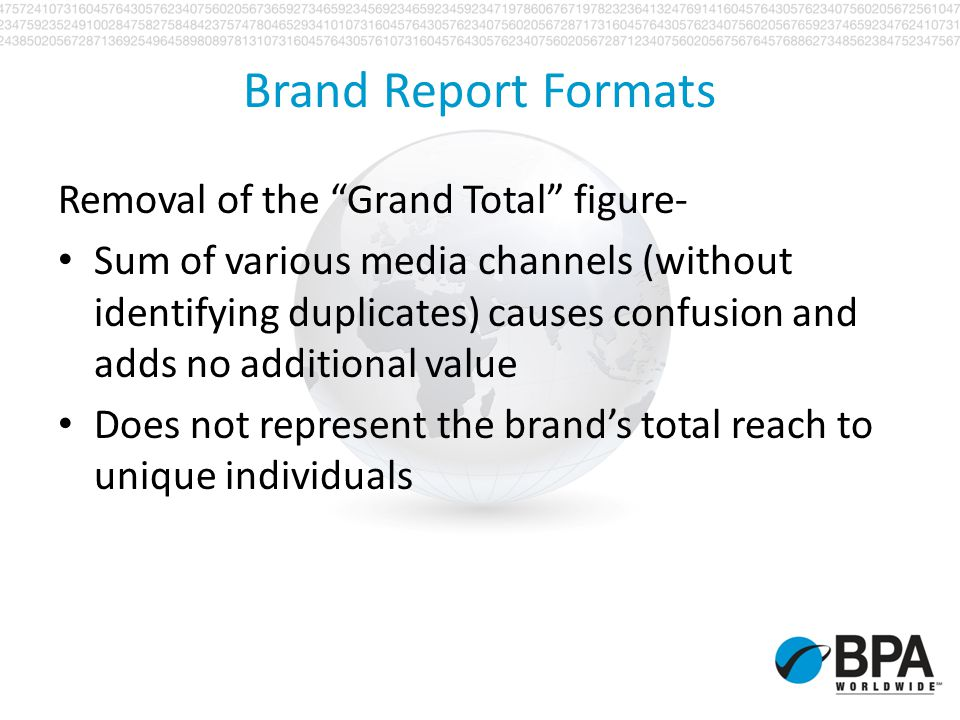 Brand Report Formats Removal of the Grand Total figure- Sum of various media channels (without identifying duplicates) causes confusion and adds no ad