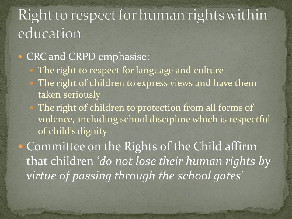 CRC and CRPD emphasise: The right to respect for language and culture The right of children to express views and have them taken seriously The right of children to protection from all forms of violence, including school discipline which is respectful of childs dignity Committee on the Rights of the Child affirm that children do not lose their human rights by virtue of passing through the school gates