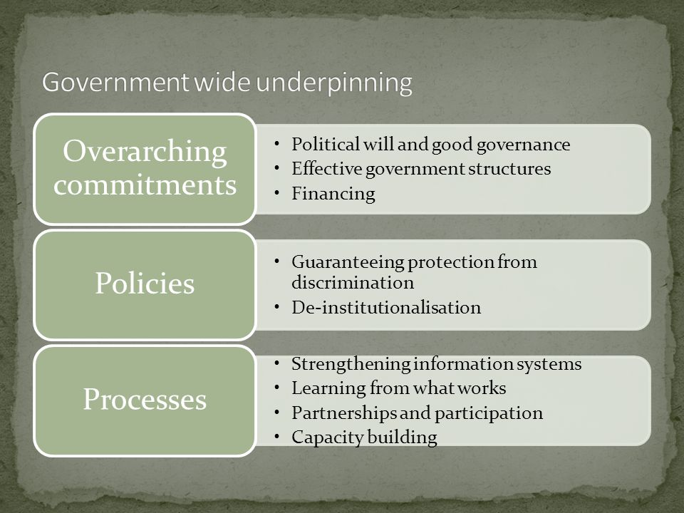 Political will and good governance Effective government structures Financing Overarching commitments Guaranteeing protection from discrimination De-institutionalisation Policies Strengthening information systems Learning from what works Partnerships and participation Capacity building Processes
