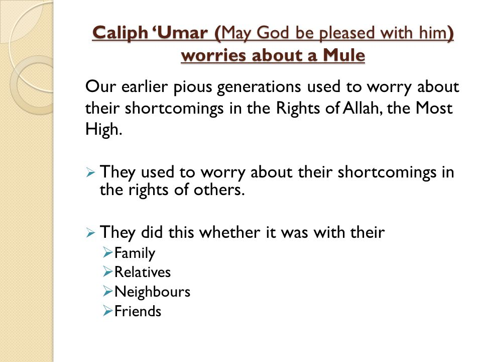 Caliph Umar (May God be pleased with him) worries about a Mule Our earlier pious generations used to worry about their shortcomings in the Rights of A
