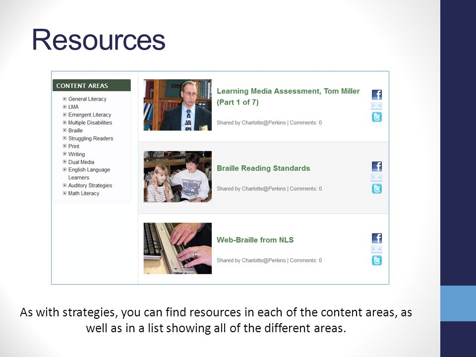 Strategies The strategies in each section are intended to be activities or practical ideas that can be used with students. These can be searched throu