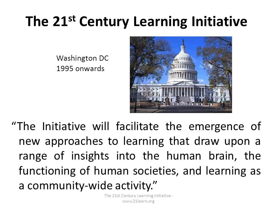 The 21 st Century Learning Initiative The Initiative will facilitate the emergence of new approaches to learning that draw upon a range of insights into the human brain, the functioning of human societies, and learning as a community-wide activity.