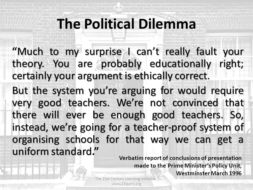 The Political Dilemma Much to my surprise I cant really fault your theory.