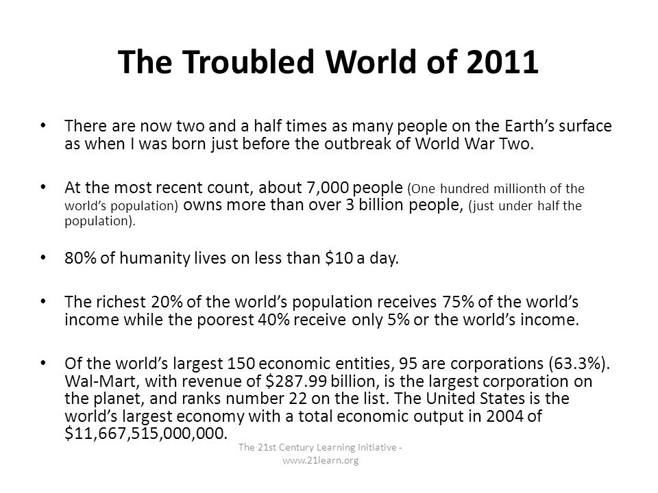 The Troubled World of 2011 There are now two and a half times as many people on the Earths surface as when I was born just before the outbreak of World War Two.