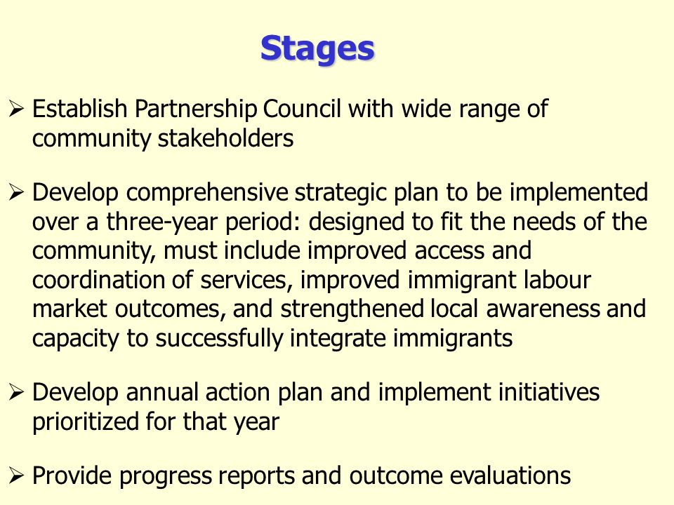 Establish Partnership Council with wide range of community stakeholders Develop comprehensive strategic plan to be implemented over a three-year perio