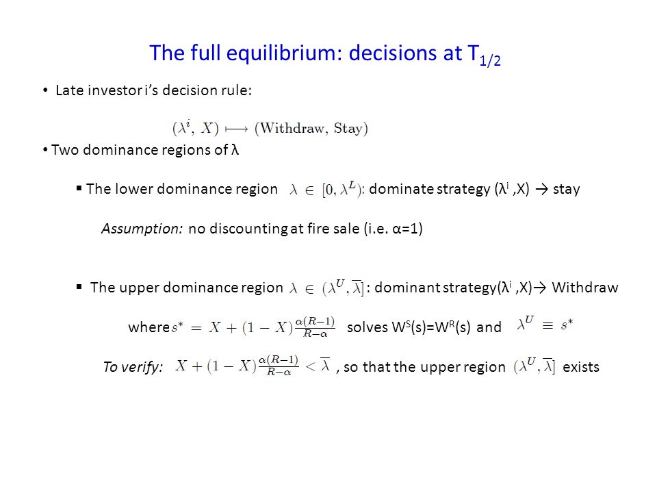 The full equilibrium: decisions at T 1/2 Late investor is decision rule: Two dominance regions of λ The lower dominance region : dominate strategy (λ i,X) stay Assumption: no discounting at fire sale (i.e.