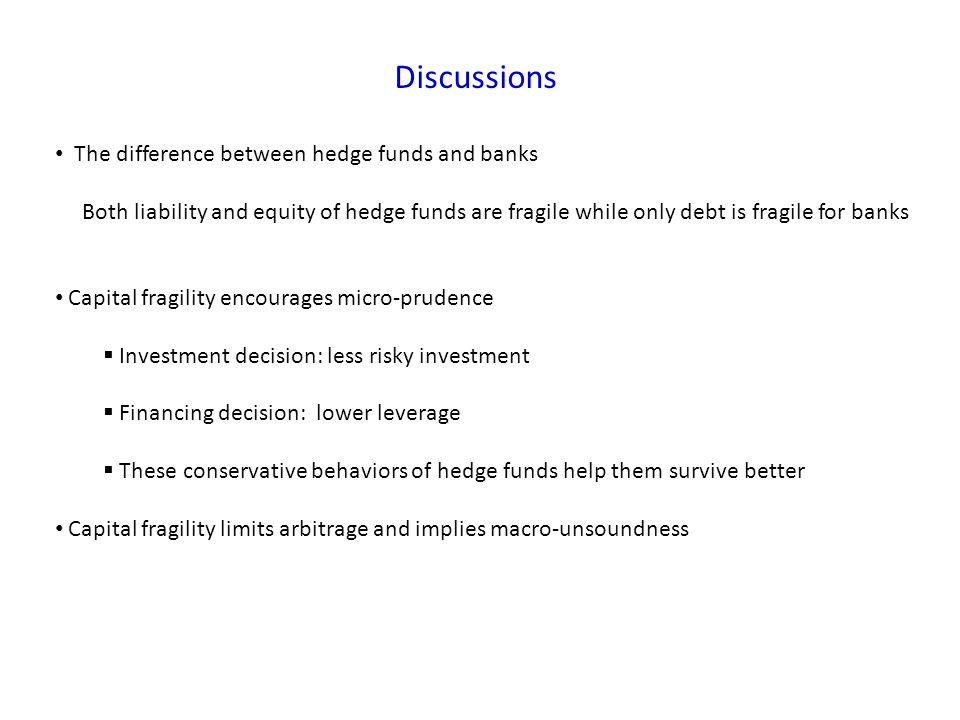 Discussions The difference between hedge funds and banks Both liability and equity of hedge funds are fragile while only debt is fragile for banks Capital fragility encourages micro-prudence Investment decision: less risky investment Financing decision: lower leverage These conservative behaviors of hedge funds help them survive better Capital fragility limits arbitrage and implies macro-unsoundness