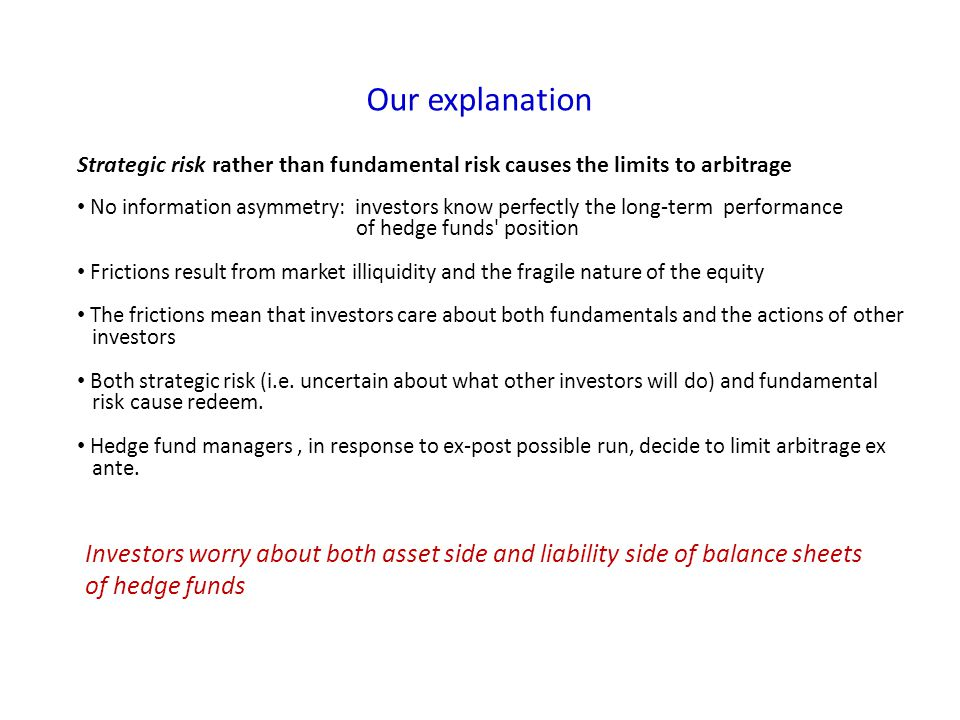 Our explanation Strategic risk rather than fundamental risk causes the limits to arbitrage No information asymmetry: investors know perfectly the long-term performance of hedge funds position Frictions result from market illiquidity and the fragile nature of the equity The frictions mean that investors care about both fundamentals and the actions of other investors Both strategic risk (i.e.