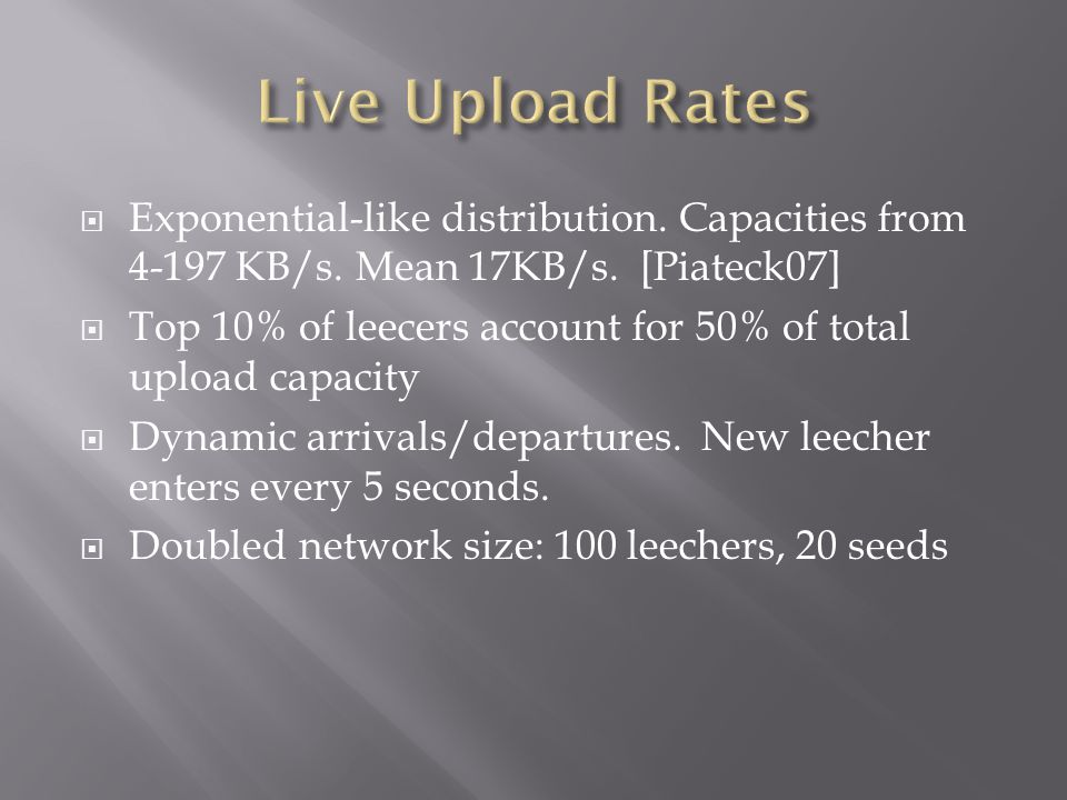 Exponential-like distribution. Capacities from 4-197 KB/s.