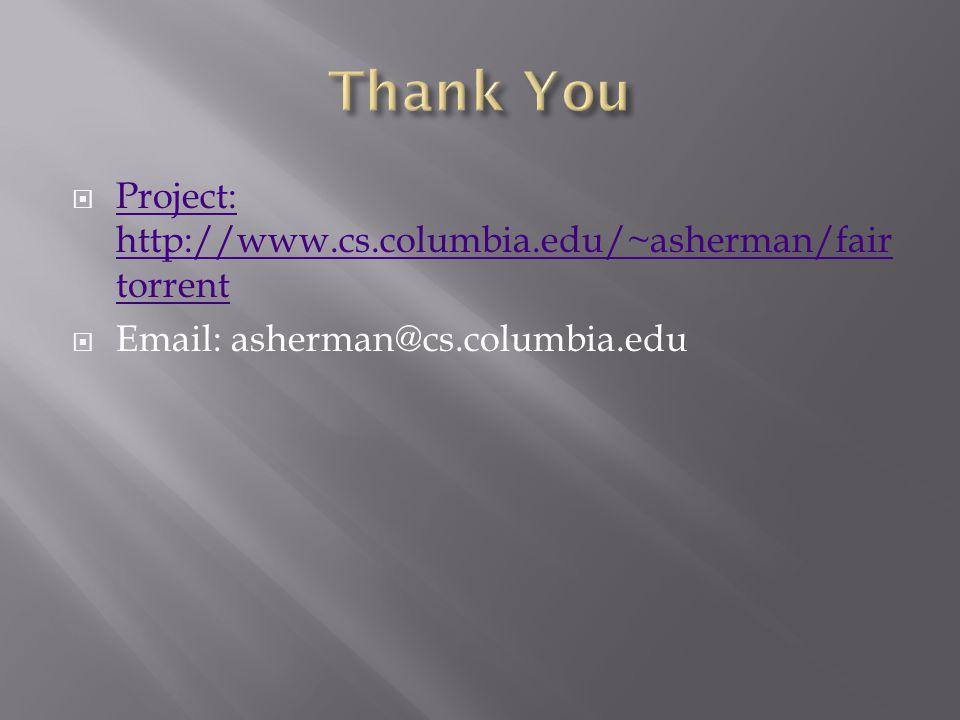 Project: http://www.cs.columbia.edu/~asherman/fair torrent Project: http://www.cs.columbia.edu/~asherman/fair torrent Email: asherman@cs.columbia.edu