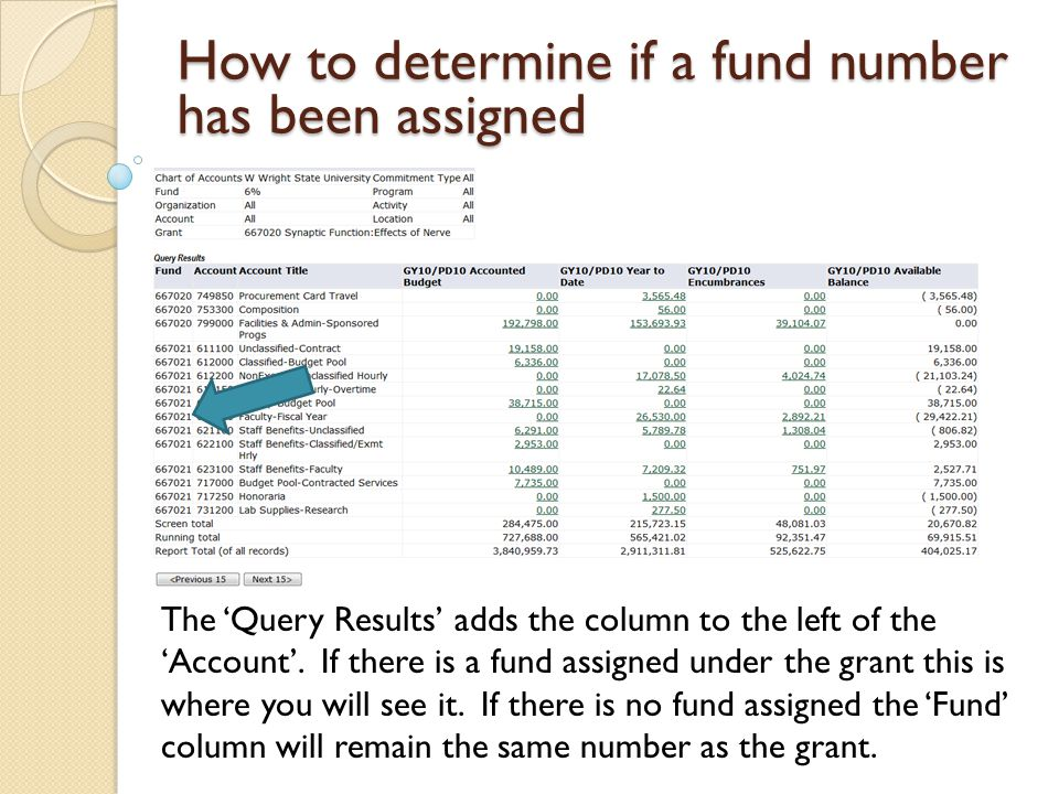 How to determine if a fund number has been assigned The Query Results adds the column to the left of the Account.