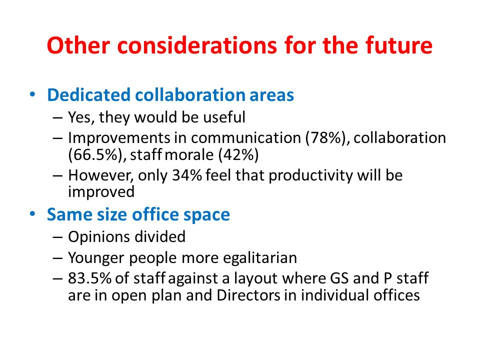 Other considerations for the future Dedicated collaboration areas – Yes, they would be useful – Improvements in communication (78%), collaboration (66.5%), staff morale (42%) – However, only 34% feel that productivity will be improved Same size office space – Opinions divided – Younger people more egalitarian – 83.5% of staff against a layout where GS and P staff are in open plan and Directors in individual offices