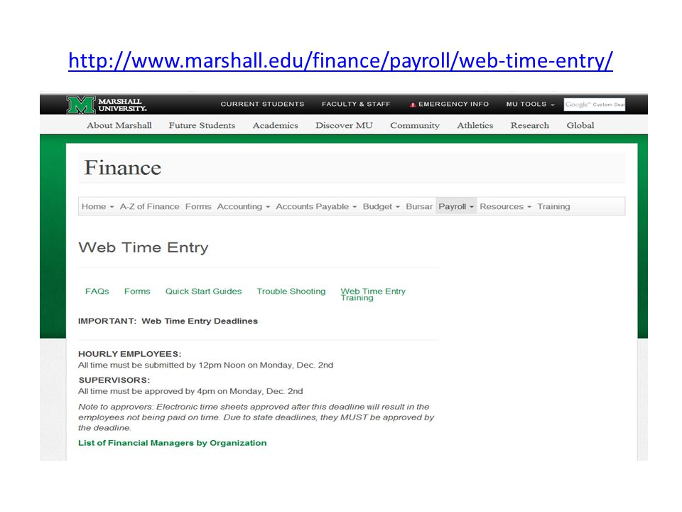 http://www.marshall.edu/finance/payroll/web-time-entry/