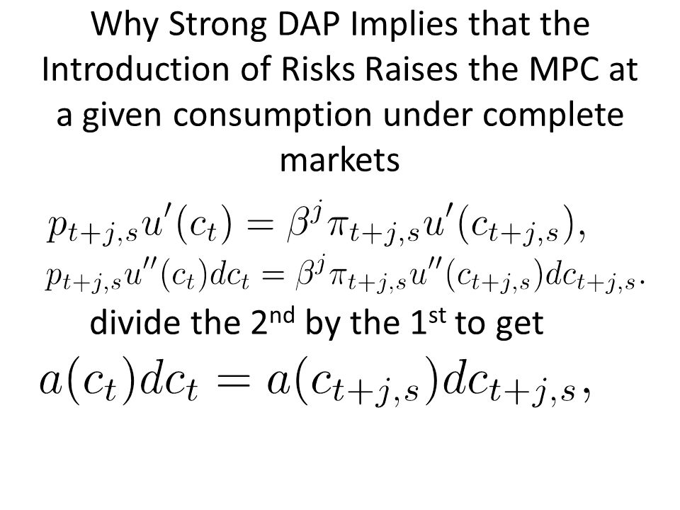 Why Strong DAP Implies that the Introduction of Risks Raises the MPC at a given consumption under complete markets