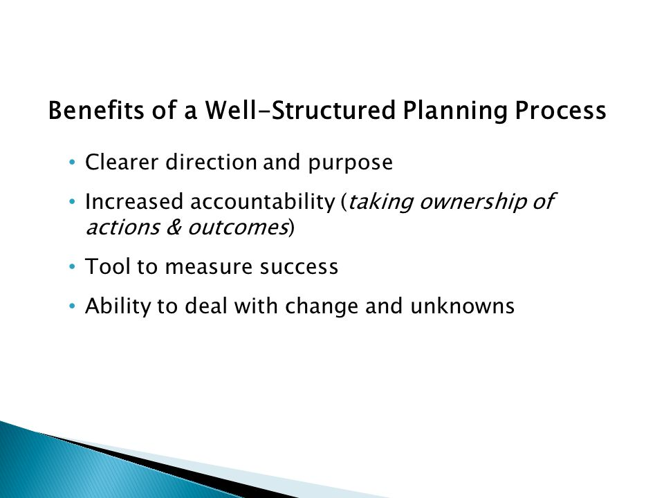 Benefits of a Well-Structured Planning Process Clearer direction and purpose Increased accountability (taking ownership of actions & outcomes) Tool to measure success Ability to deal with change and unknowns