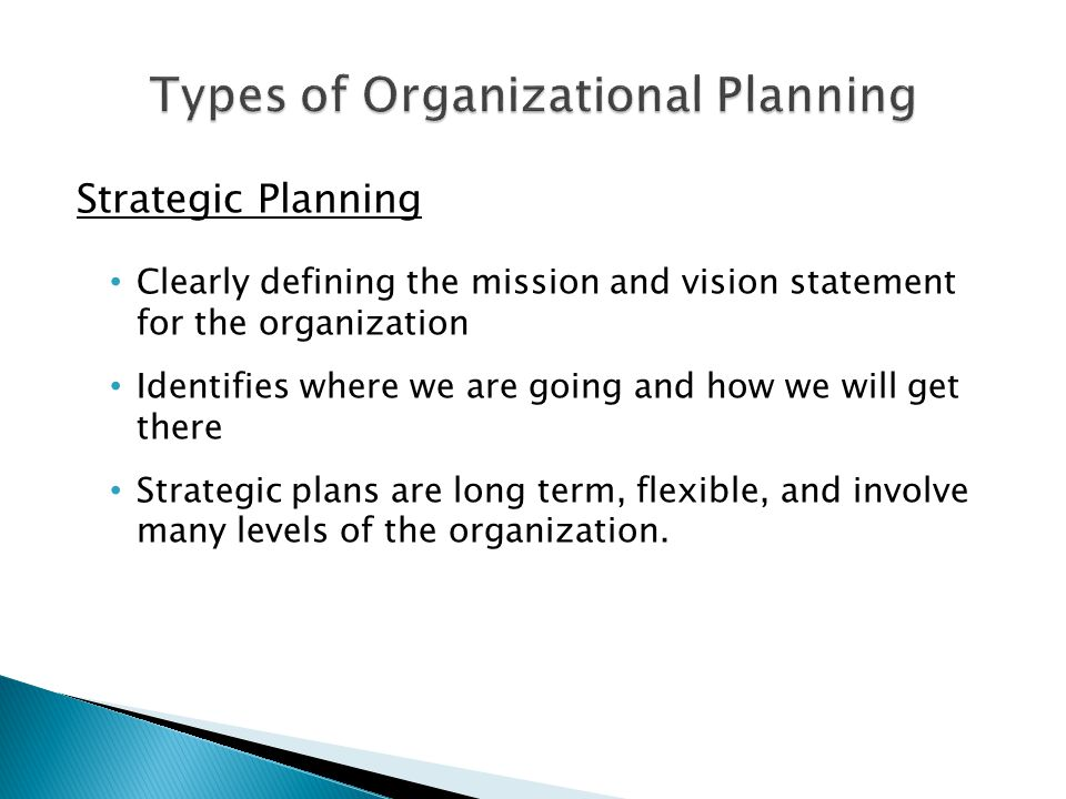 Strategic Planning Clearly defining the mission and vision statement for the organization Identifies where we are going and how we will get there Stra
