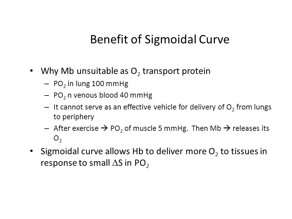 Benefit of Sigmoidal Curve Why Mb unsuitable as O 2 transport protein – PO 2 in lung 100 mmHg – PO 2 n venous blood 40 mmHg – It cannot serve as an ef