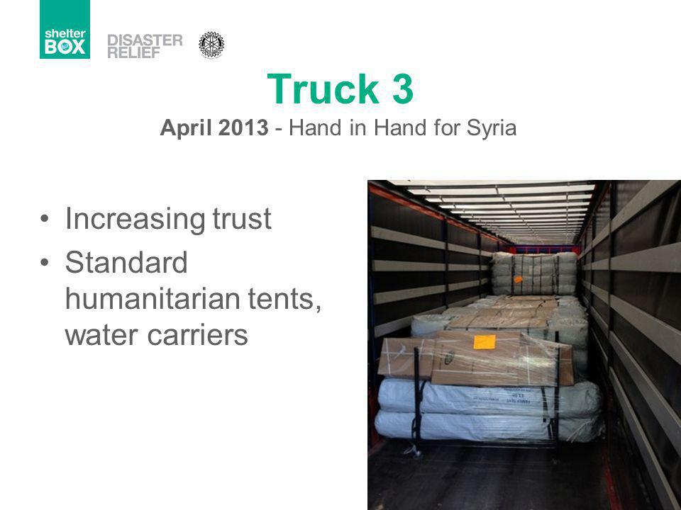 Truck 3 Increasing trust Standard humanitarian tents, water carriers April 2013 - Hand in Hand for Syria