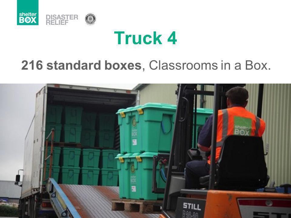 Truck 4 216 standard boxes, Classrooms in a Box.