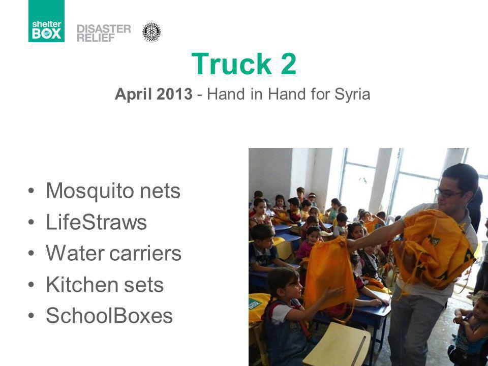 Truck 2 Mosquito nets LifeStraws Water carriers Kitchen sets SchoolBoxes April 2013 - Hand in Hand for Syria