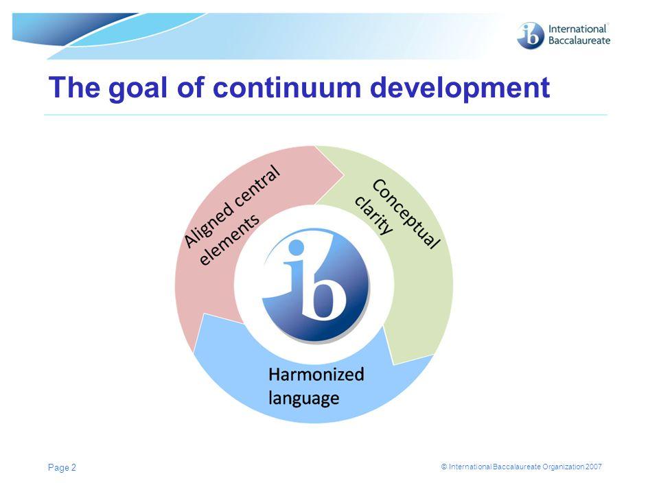 © International Baccalaureate Organization 2007 The goal of continuum development Page 2