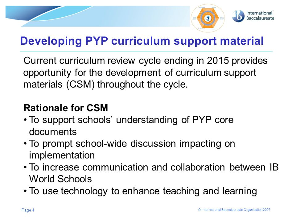 © International Baccalaureate Organization 2007 Page 4 Developing PYP curriculum support material Current curriculum review cycle ending in 2015 provi