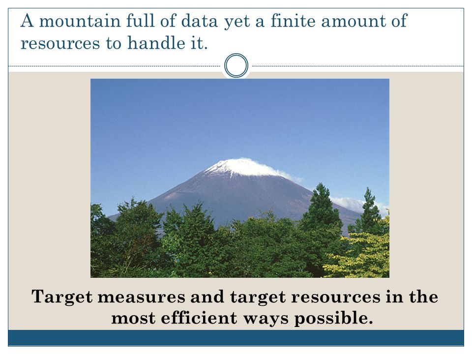 A mountain full of data yet a finite amount of resources to handle it.
