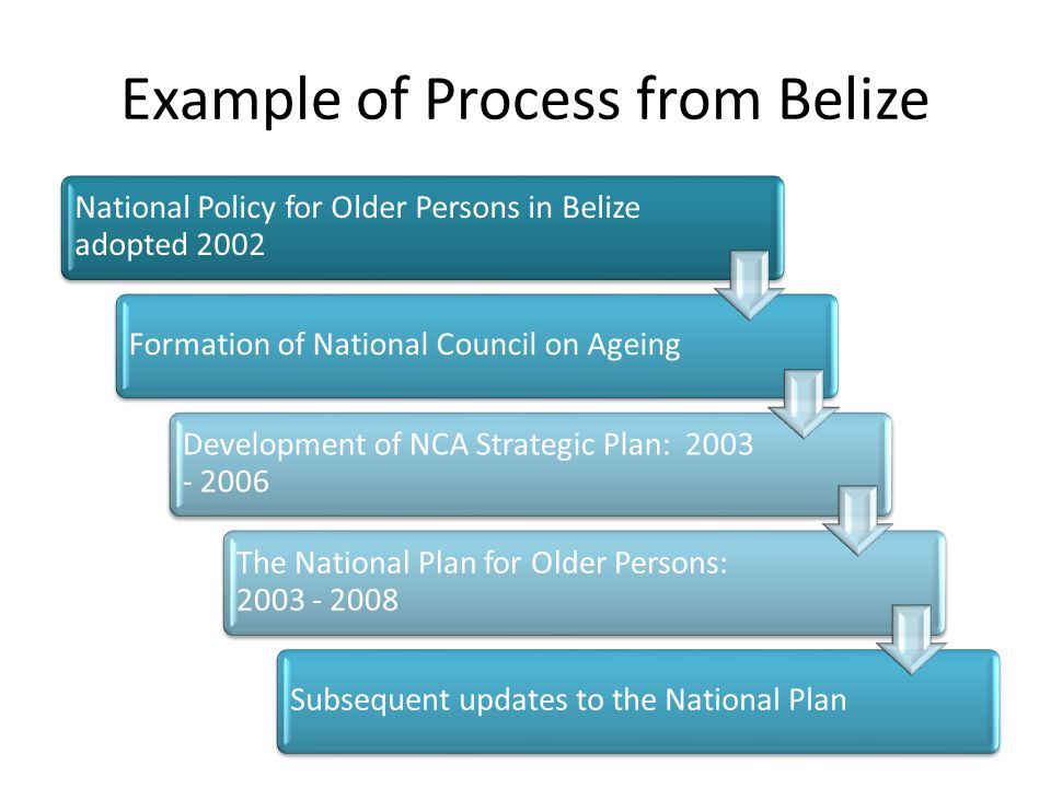 Example of Process from Belize National Policy for Older Persons in Belize adopted 2002 Formation of National Council on Ageing Development of NCA Strategic Plan: 2003 - 2006 The National Plan for Older Persons: 2003 - 2008 Subsequent updates to the National Plan