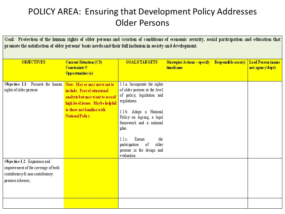 POLICY AREA: Ensuring that Development Policy Addresses Older Persons