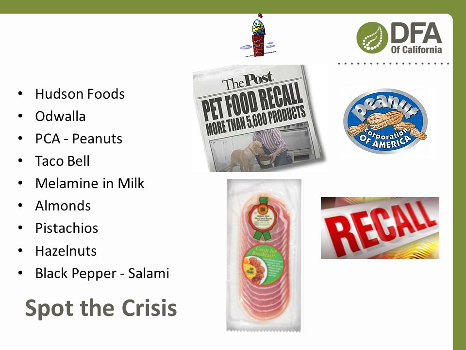 Spot the Crisis Hudson Foods Odwalla PCA - Peanuts Taco Bell Melamine in Milk Almonds Pistachios Hazelnuts Black Pepper - Salami