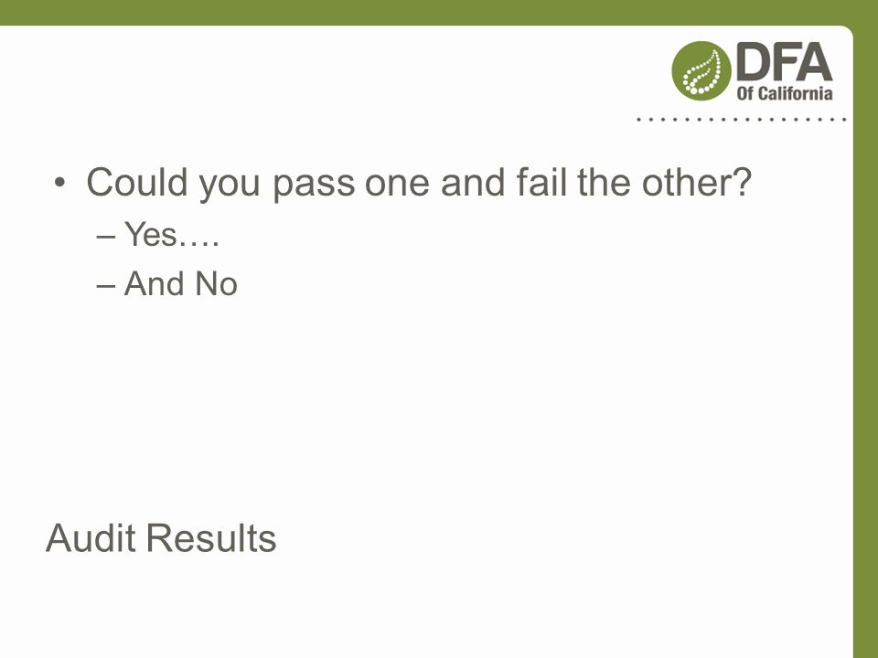 Audit Results Could you pass one and fail the other? –Yes…. –And No