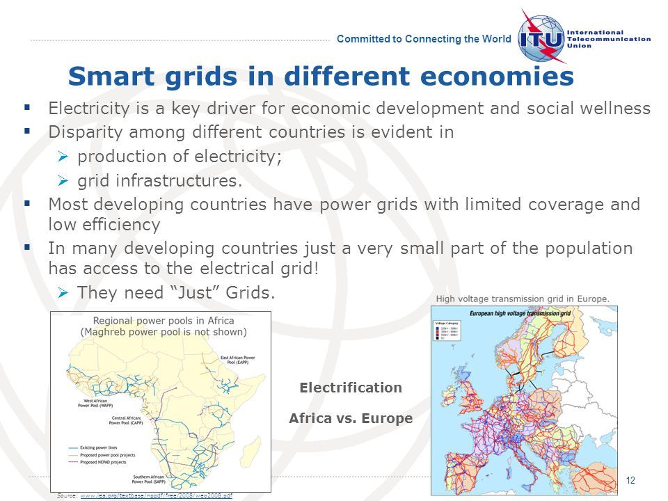 Committed to Connecting the World Smart grids in different economies Electricity is a key driver for economic development and social wellness Disparity among different countries is evident in production of electricity; grid infrastructures.