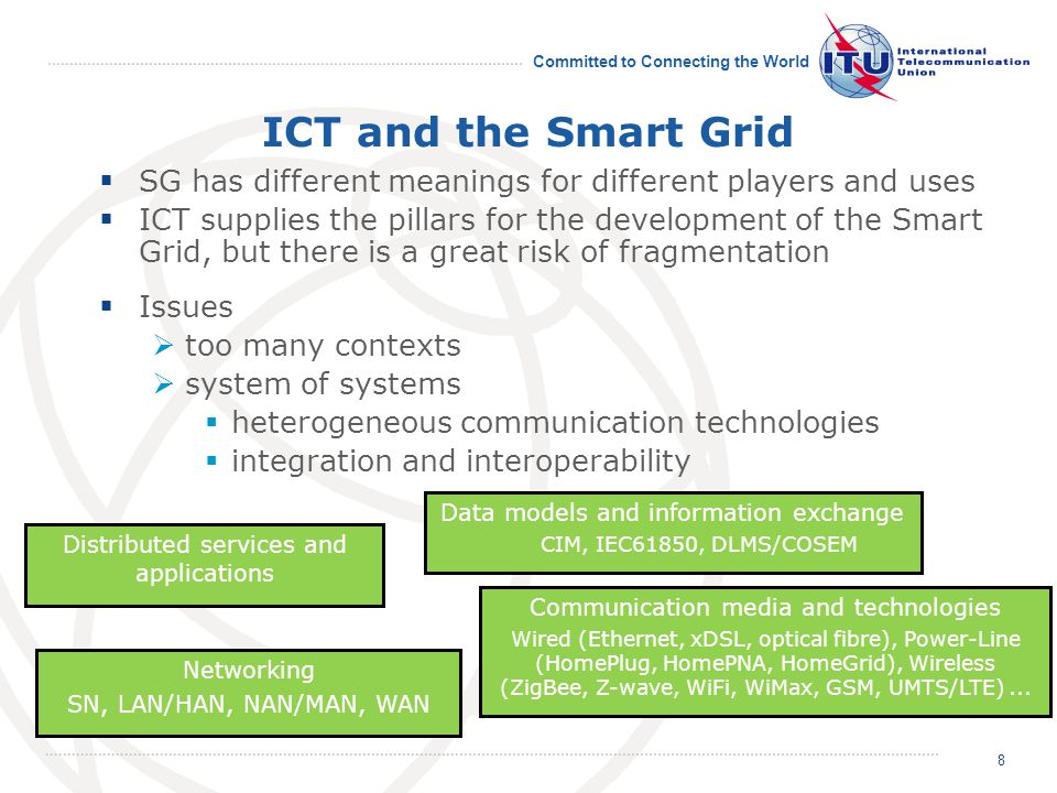 Committed to Connecting the World Energy footprint of ICT - 1 Energy footprint of ICT is continuously increasing … … mainly at the user side (Due to: more ICT devices; most devices are left powered on even when they are not used; standby mode is inefficient) Full implementation of Smart Grids will further raise current forecasts.