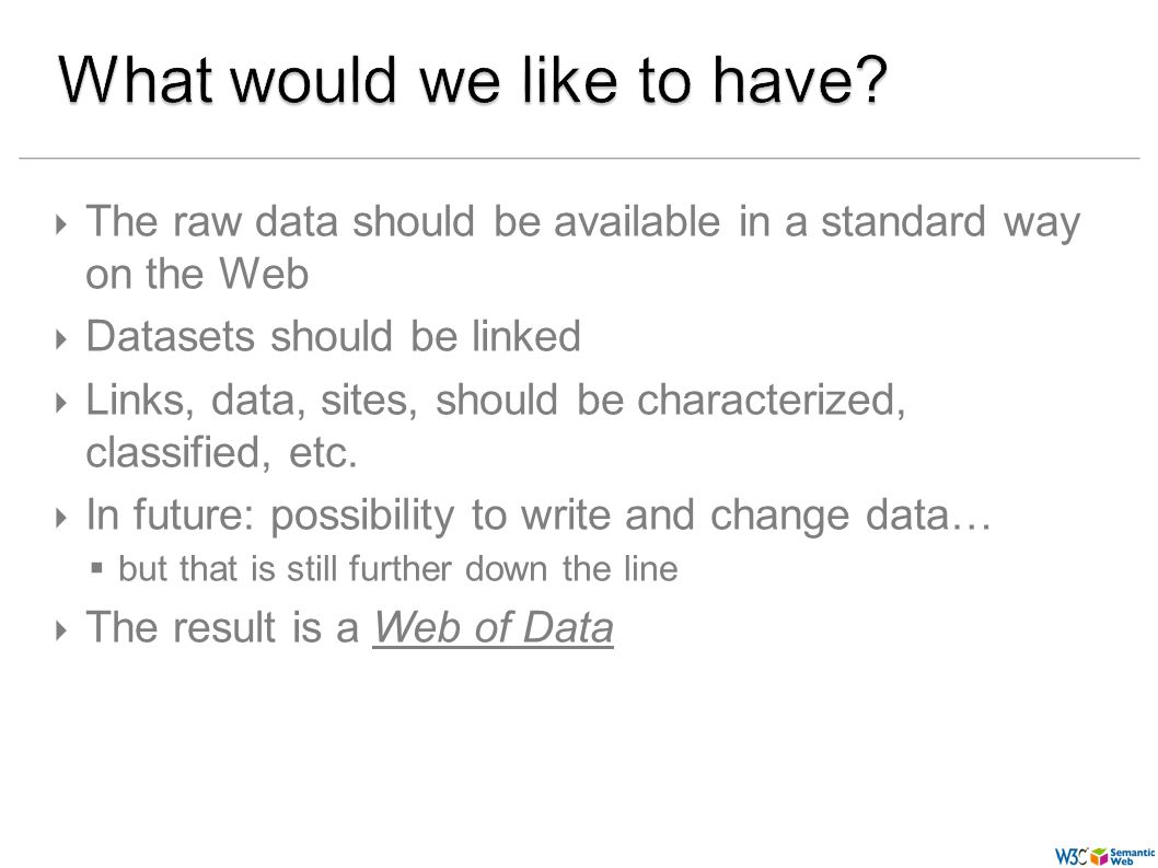 (57) The raw data should be available in a standard way on the Web Datasets should be linked Links, data, sites, should be characterized, classified,