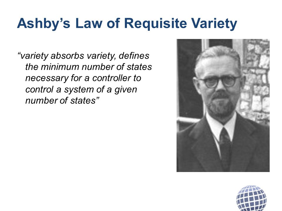 Ashbys Law of Requisite Variety variety absorbs variety, defines the minimum number of states necessary for a controller to control a system of a given number of states