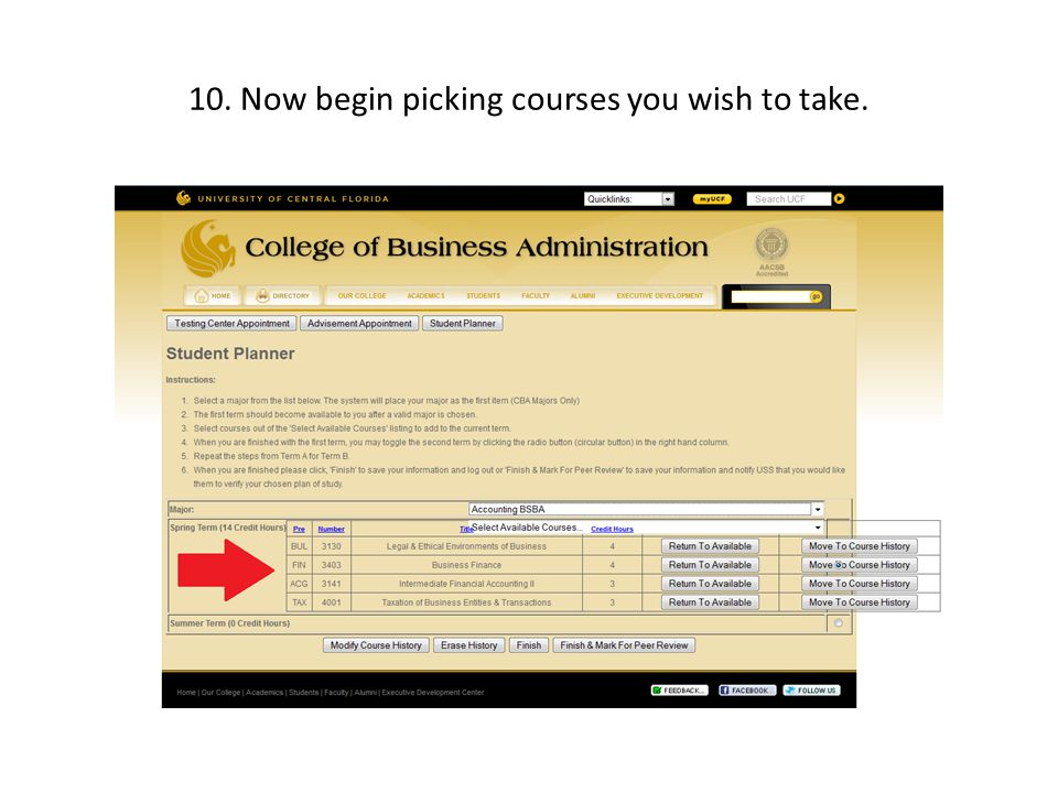 10. Now begin picking courses you wish to take.