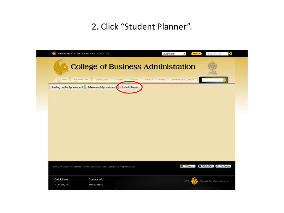 2. Click Student Planner.