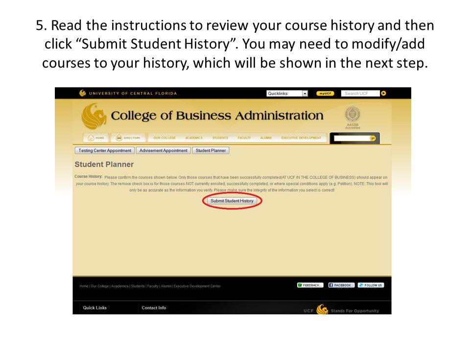 6. Begin selecting courses you have already taken.