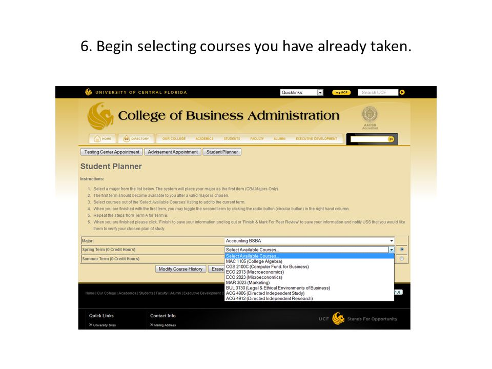 7.Simply move courses you have already taken by clicking Move to Course History.